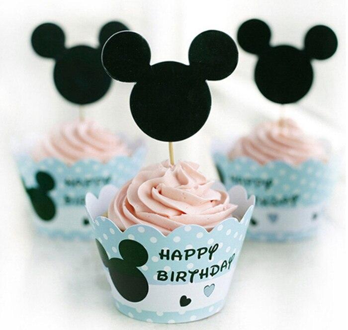 <font><b>Light</b></font> <font><b>Blue</b></font> Paper Cake <font><b>Cup</b></font> Minnie Mouse Cupcake Wrapper and Topper Wedding Birthday Decoration