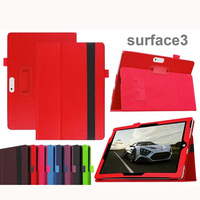 Luxury 2 Folder Litchi Grain PU Protective Leather Cases Cover For Microsoft Surface 3 Surface3 Windows