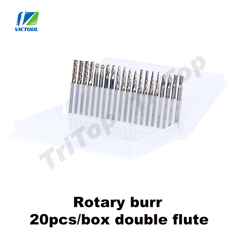 Free shipping High Quality 20pcs 1/8 Tungsten Carbide 3mm Rotary Cutter files Set CNC Engraving bit  double flute head