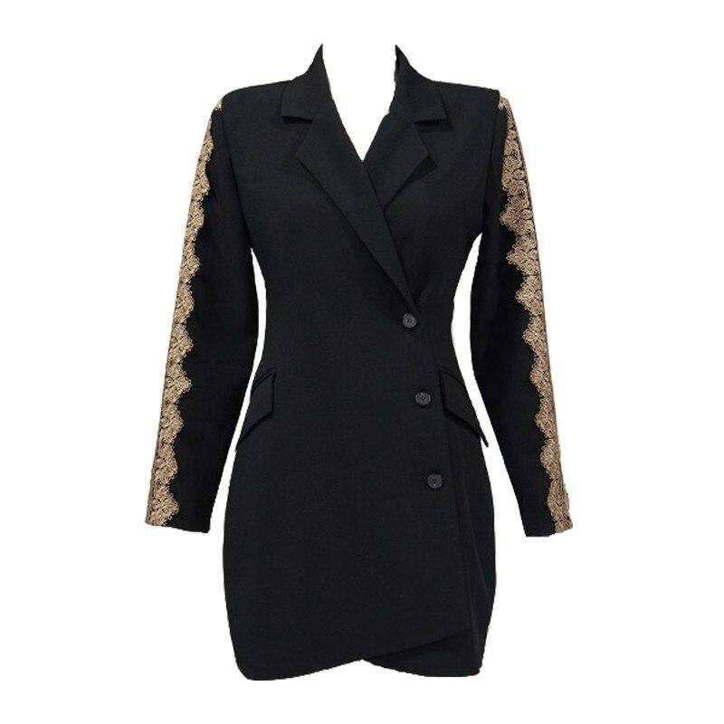 a7e8125217172 Foamlina Floral Lace Patchwork Blazer Dress Notched Collar Long Sleeve  Casual Work Dress 2018 Autumn Winter Office Ladies Dress