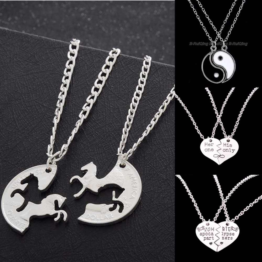 2PC Charm Yin Yang Horse Heart Pendant Chain Necklace Her One His Only Family Women Lovers Necklace Jewelry Valentine's Day Gift
