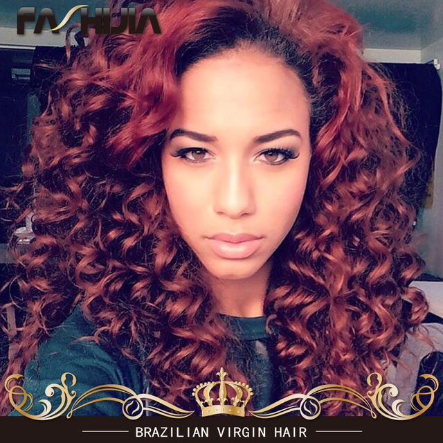 8a Red Brazilian Virgin Hair 99j Color Kinky Curly Hair Extensions 3
