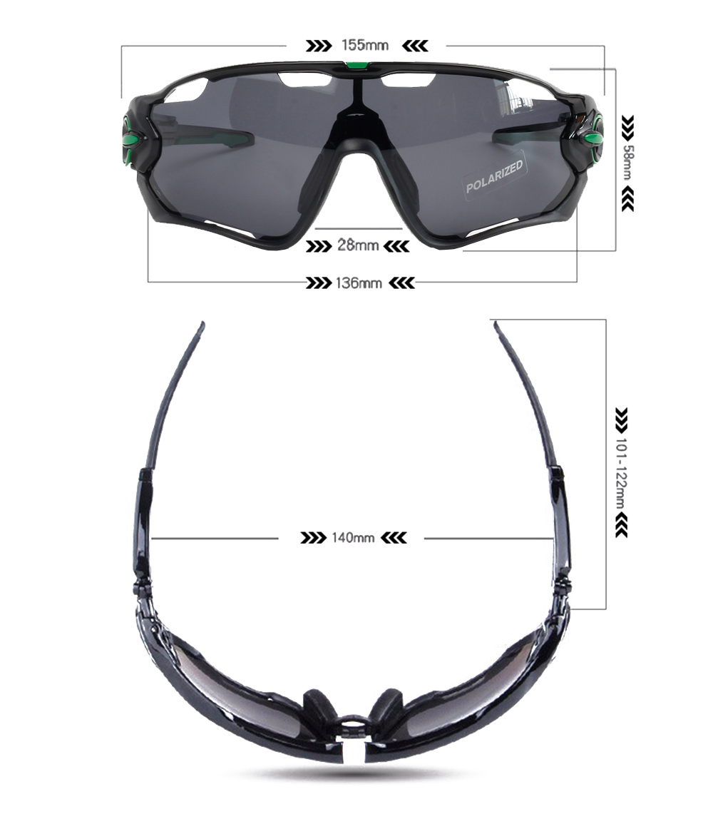 polarized cycling sunglasses dimensions