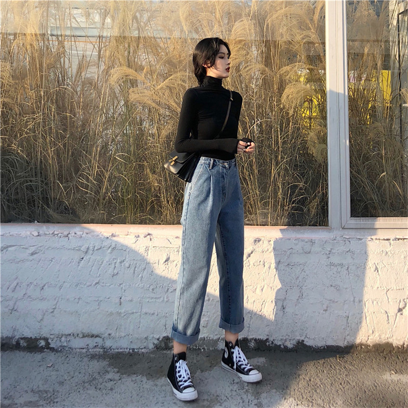 Trousers Children's Autumn Dress New Korean Chic High-waist Loose Straight Trousers Retro Broad-legged Pants Roll-edged   Jeans   Pa