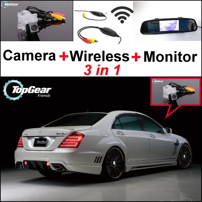 3in1 Special WiFi Camera + Wireless Receiver + Mirror Monitor Easy Parking System For Mercedes Benz S Class MB W221 SL W231 R231 wireless pager system 433 92mhz wireless restaurant table buzzer with monitor and watch receiver 3 display 42 call button