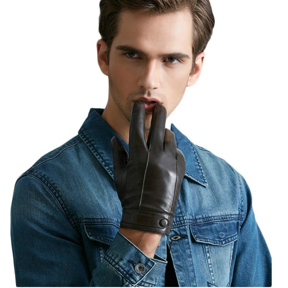 Mens velvet gloves - Men S Leather Gloves Warm Winter Plus Velvet Touch Screen Thicknees Short Drive Motocycle Business China