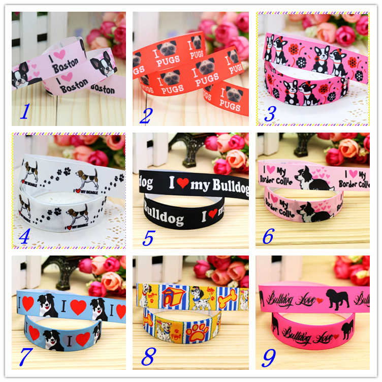 7/8'' Free shipping bulldog boston dog printed grosgrain ribbon hairbow headwear party decoration diy wholesale OEM 22mm D246