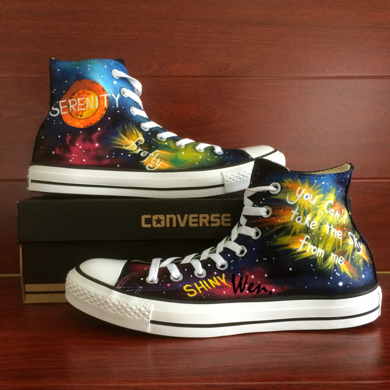 Shoes Man Woman Converse Chuck Taylor Firefly Galaxy Nebula Design Hand Painted High Top Sneakers Men Women Christmas Gifts converse chuck taylor women men shoes anime tokyo ghouls custom design hand painted shoes high top white sneakers cosplay gifts