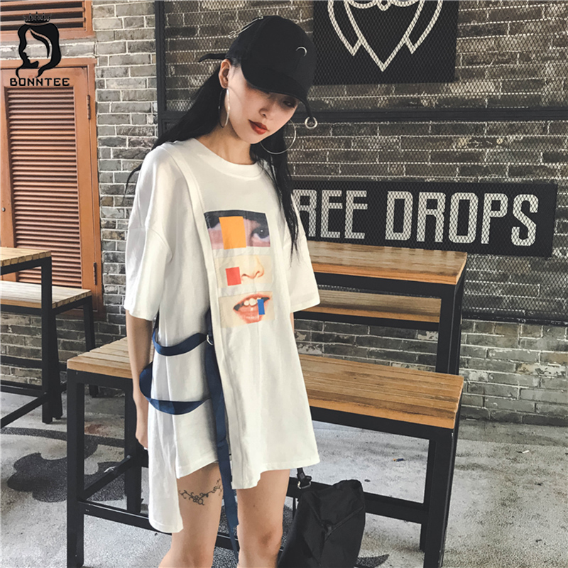Harajuku BF Women Casual Loose T-shirts Womens O-neck Top Female Printing 5 Quarter Sleeve T-shirt Females Chic Students Tops