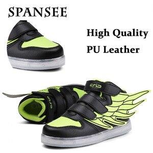 Image 4 - Size 25 37 Light Shoes Kids for Girls Boys Led Shoes Luminous Sneakers Light Up Children Tenis Led Slippers USB Recharging