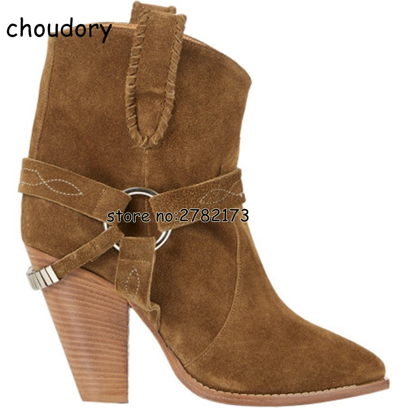 все цены на Black Brown Suede Spring Autumn Woman High Heels Ankle Boots Buckle Strap Slip-on Fashion Street Style Lady Chunky Heels Boots