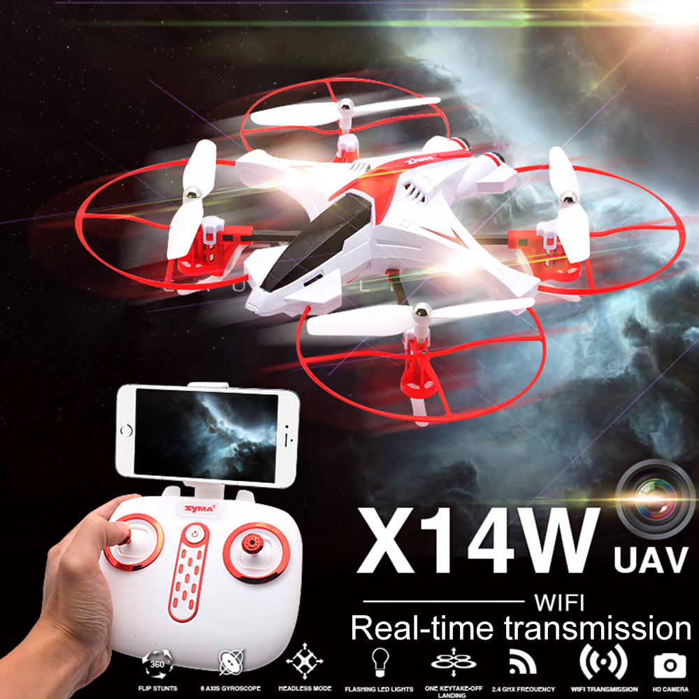 Original SYMA X14W RC Helicopter 2.4G 4CH Remote Control Quadcopter with 720P FPV WiFi Camera Electric Flying Drone Aircraft mini drone rc helicopter quadrocopter headless model drons remote control toys for kids dron copter vs jjrc h36 rc drone hobbies