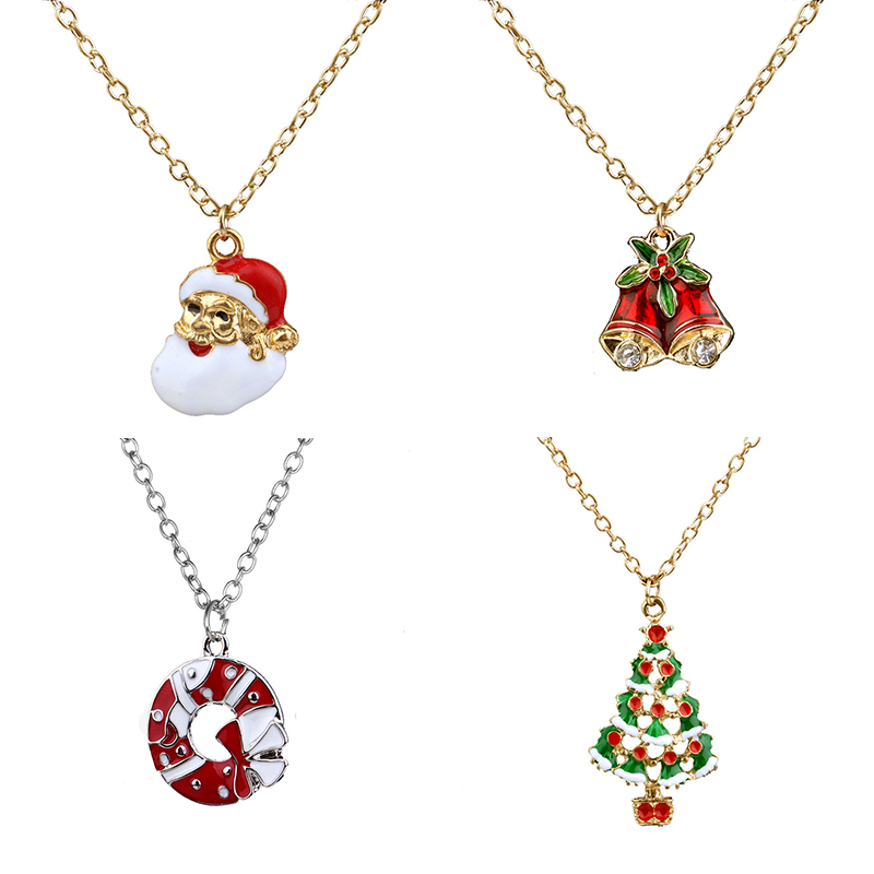 Hot Christmas Halloween Funny Christmas Series Necklace Santa Claus Christmas Tree Boots Bell Donut Pendant Decoration Jewelry