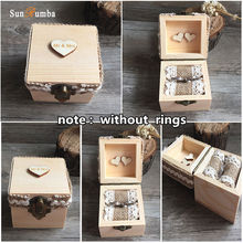 1pcs Mr&Mrs Love Rustic Wooden Ring Box Wedding Decoration Vintage Wood Rings Boxes Party Decorations Mariage (without rings)