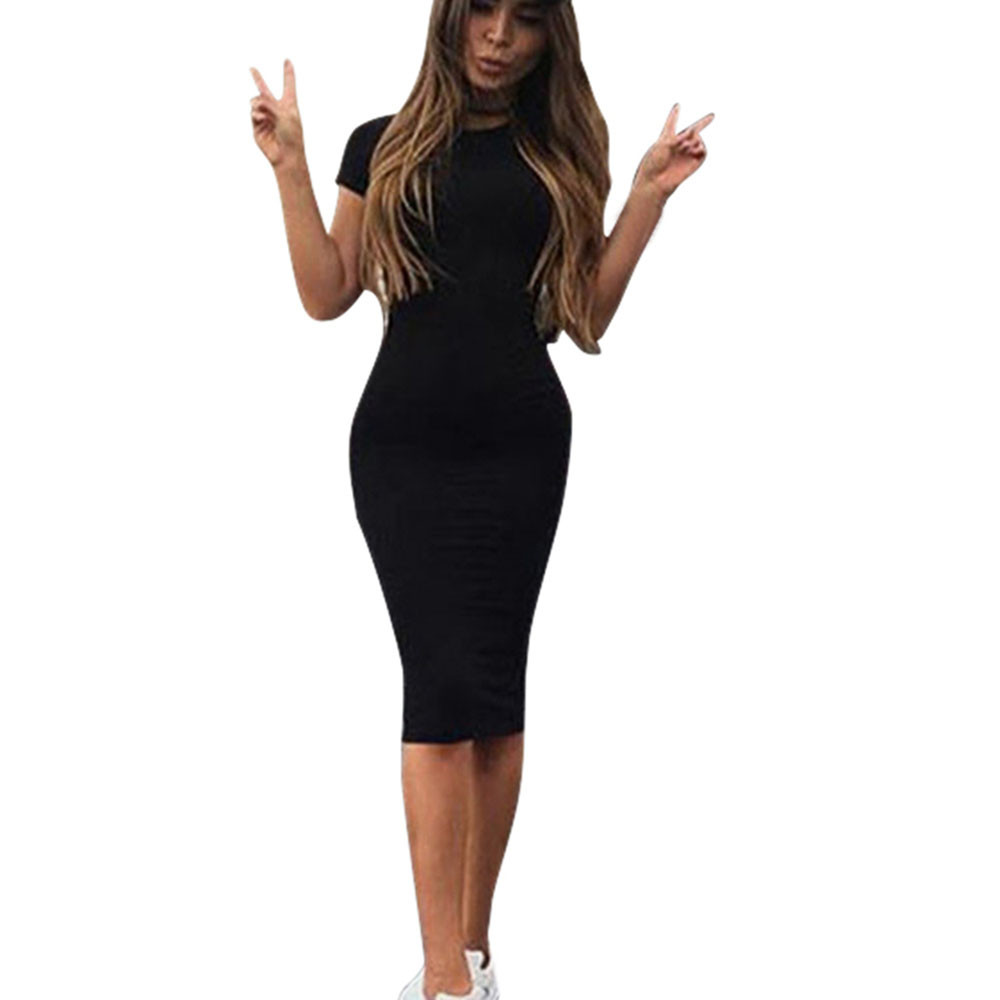 Women Summer Casual Dress Elegant Ladies Sexy Solid Color Tight Short Sleeve Round Neck Office Work Dresses Female Vestidos