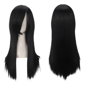 """Image 2 - Ccutoo אורוצ ימארו 60 ס""""מ/23.6 שחור אינץ ישר שיער סינטטי ארוך פוני מלא פאות Cospaly מלא סיבי טמפרטורה גבוהה"""