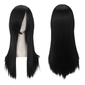Image 2 - ccutoo Orochimaru 60cm/23.6inch Black Straight Long Synthetic Hair Full Bangs High Temperature Fiber Cospaly Full Wigs