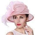 Джун молодых женщин шляпы короткие брим розовый цвет цветочный узор Sinamay органза материал милые дамы мода свадебные ну вечеринку Fedoras