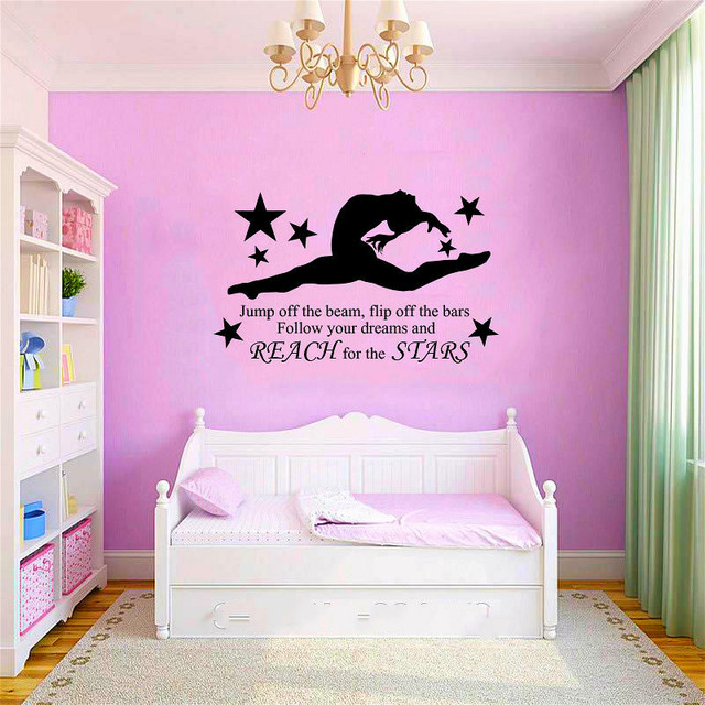 Marvelous Gymnast Wall Stickers Dance Room Gymnasium Decoration Murals Removable  GYMNASTIC GIRLS Wall Art Decal