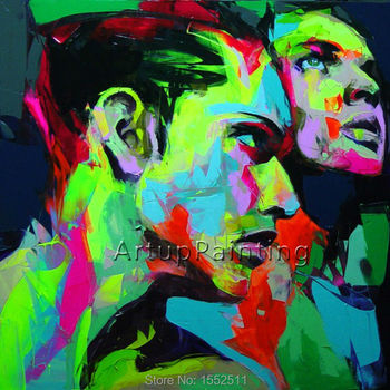 Palette knife portrait Face Oil painting Character figure canvas Hand painted Francoise Nielly wall Art picture for living room9