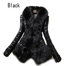 2017 Hot Luxury Women's Faux Fur Coat Leather Outerwear Snowsuit Long Sleeve Jacket Black Fashion Free Shipping