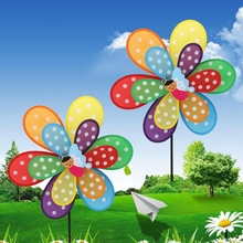 Hot Sale Double Layer Insect Windmill Colorful Wind Spinner Kids Toy Yard Garden Decoration