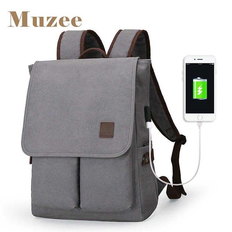 Muzee hommes toile sac à dos poignée mode grande capacité fit pour 15.6 pouces sac à dos pour ordinateur portable jeune étudiant école sac à dos
