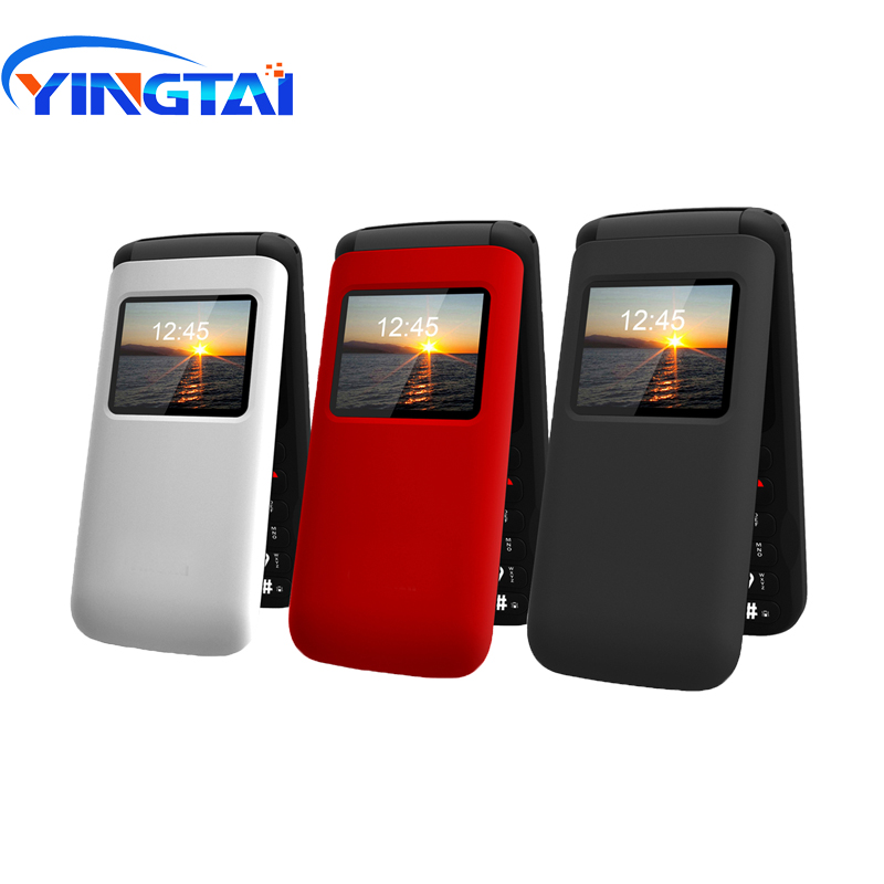 YINGTAI T40 Big push button cheap flip phone for elder Unlocked 1.77 inch wireless FM SOS telephone  Express mobile phone-in Cellphones from Cellphones & Telecommunications