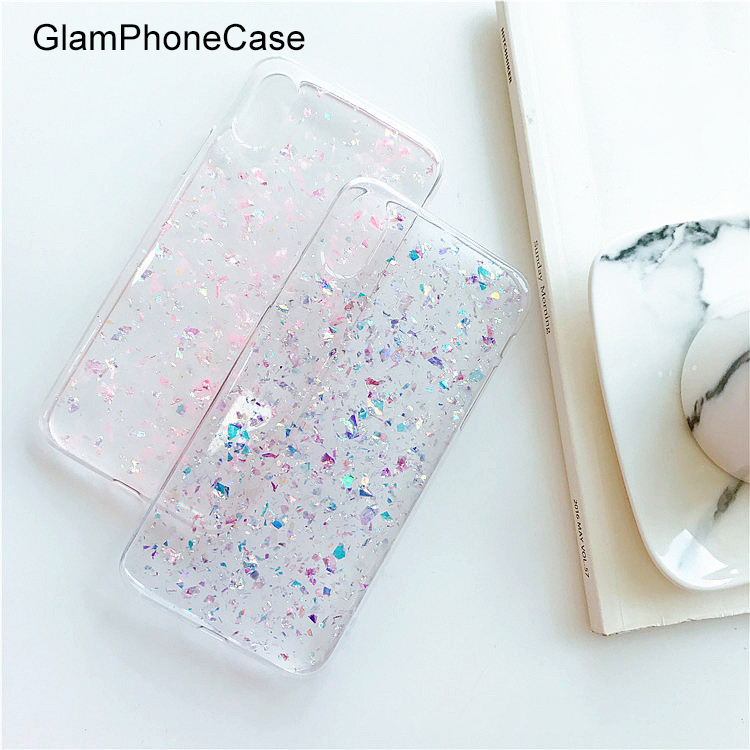 GlamPhoneCase 2018 Crystal Pink Gitter Sequins Case for iphone X 8 8plus 7 7plus 6 6SPlus Transparent Soft TPU Mobile phone case