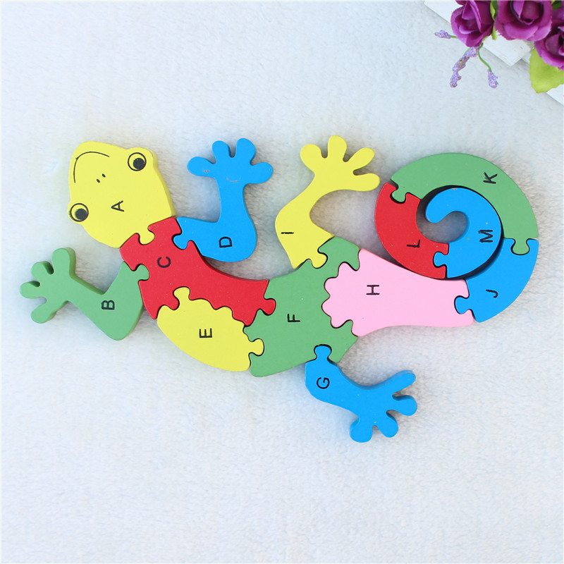 JP030 Double Sides Children Wooden Toys Alphabet Number Building Jigsaw <font><b>Puzzle</b></font> <font><b>Gecko</b></font> Funny Digital Puzlzle Game Educational