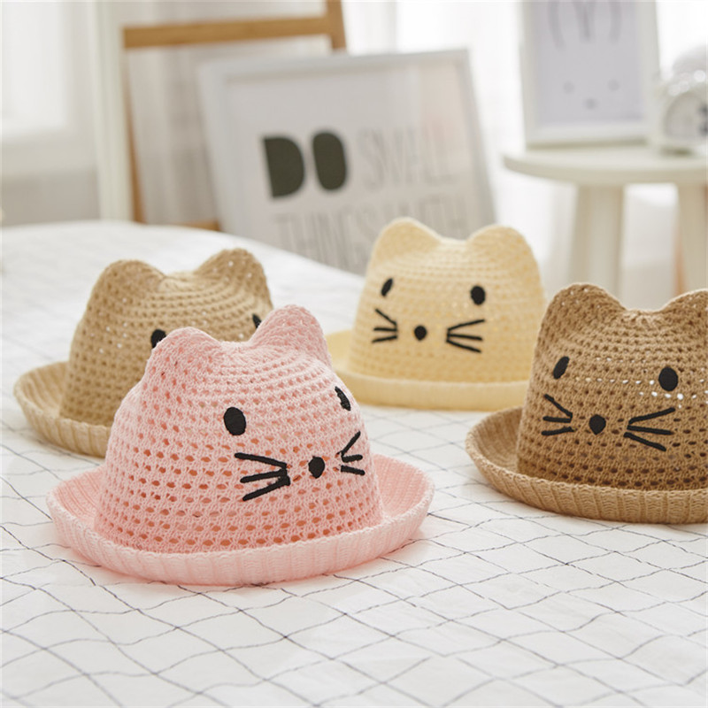 hirigin new straw Hot Sale 4 Colors Boy Girls Baby protective  Anti-Sun Caps Cat Ears Comfortable casual animal printed Hats(China)