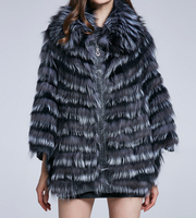 lady real silver fox fur cape shawl with cuffs free shipping with wool lining 2018 women fashion spring autumn coat shawl poncho