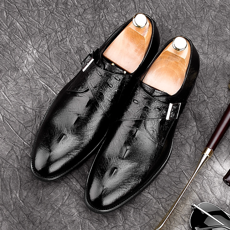 luxury round toe breathable man formal dress shoes genuine leather derby carved oxfords famous men s bridal wedding flats gd78 2017 Alligator Man Formal Dress Monk Straps Shoes Male Luxury Genuine Leather Party Oxfords Pointed Toe Men's Bridal Flats NE39