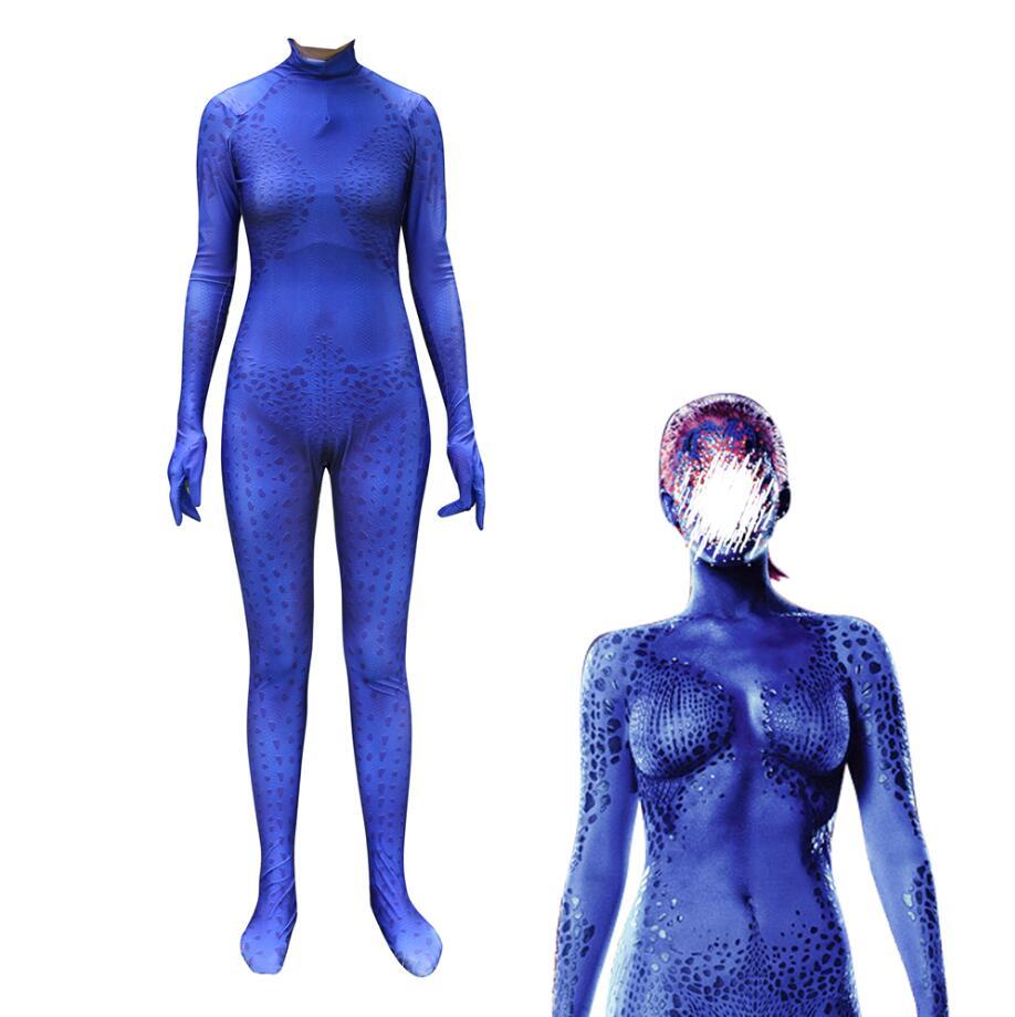 New Movie X-Men Cosplay Costume Raven Darkholme Blue Speckle Jumpsuit Mystique Bodysuit Halloween Party Suit Kids Adult Woman