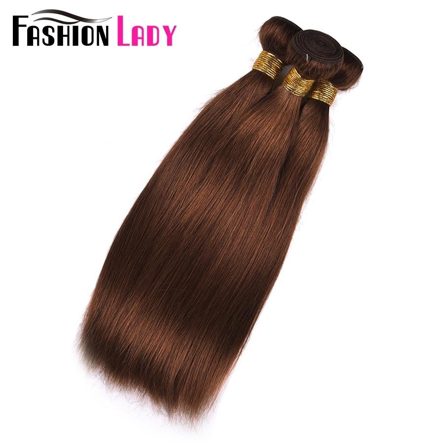 Image 5 - FASHION LADY Pre Colored One Piece Brazilian Straight Hair 100% Human Hair Weave #4 Medium Brown Human Hair Bundles Non RemyHair Weaves   -