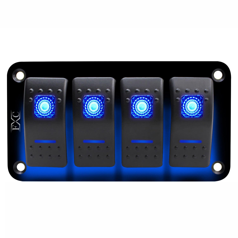 New 12V-24V 4 gang blue 2 LED Light Rocker Switch Panel Circuit Breaker Boat Marine IP67 Waterproof Voltmeter Car Switch Panel
