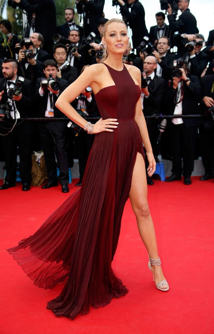 Burgundy High Slit Halter Evening Gowns Elegant Strapless Backless ...