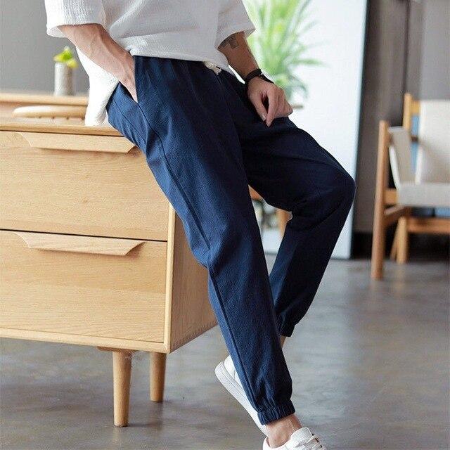 Cotton Linen Joggers Black Men's Harem Pants Harajuku Fitness Lace Up Spring Mens Trousers 2020 Summer Streetwear Clothes Male 4