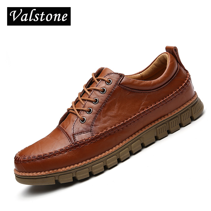 Valstone Genuine Leather Shoes Men 2018 Spring Italian handmade daily lace-up moccasins vintage classical flats hot sale walking vik max white genuine leather hot sale figure skate shoes lace up ice figure skate shoes