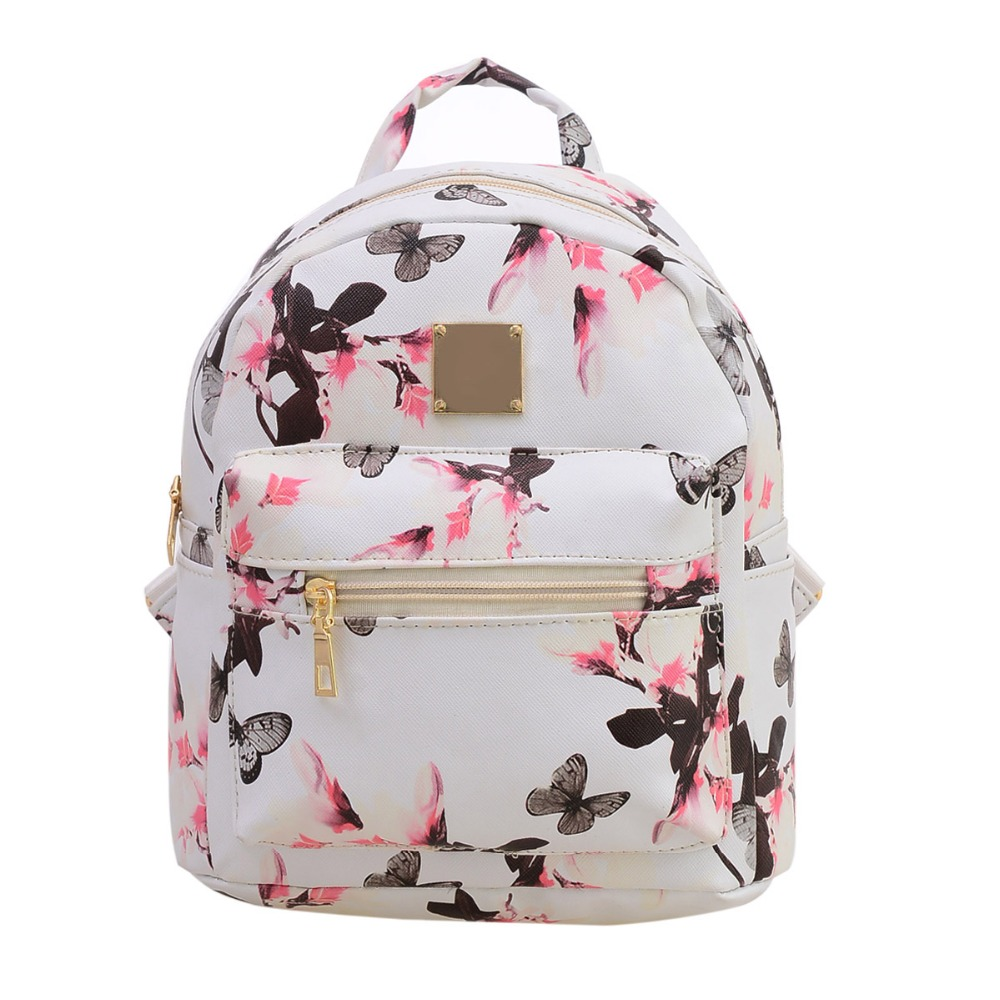 2016 Fashion Women Floral Printing Leather Backpacks School Bags for Teenage Girls Lady Travel Small Backpack Mochila Feminina