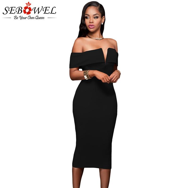 SEBOWEL Sexy Black Off Bahu Parti Pakaian Wanita Elegant Pendek Sleeve Bodycon Midi Club Dress Slash Neck Petang Gaun 2019