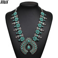 Free shipping 2017 NEW ethnic vintage resin bib choker pendant necklace link chain statement jewelry maxi for women green white