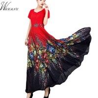 Spring Plus size 4XL A Line bohemian dress women summer casual evening maxi dress femal Printed Chiffon Dress vestido robe femme