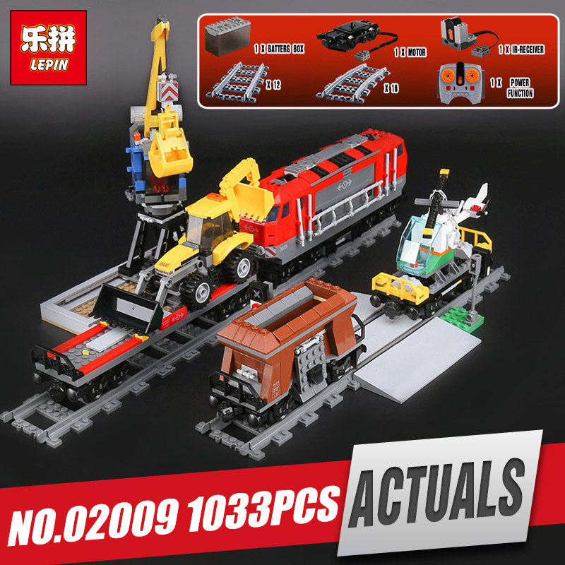 Lepin 02009 Genuine 1033Pcs City Series The Heavy-haul Train Set 60098 Building Blocks Bricks Educational Toys Model Boy`s Gifts