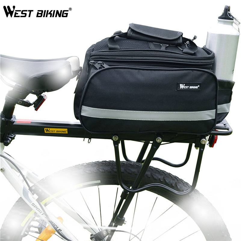 WEST BIKING Cycling Bags+Back Shelf Raincover Sets Strong 50Kg Load Bicycle Multi-purpose Bike Cycle Rear Rack+Bag+Raincover Set