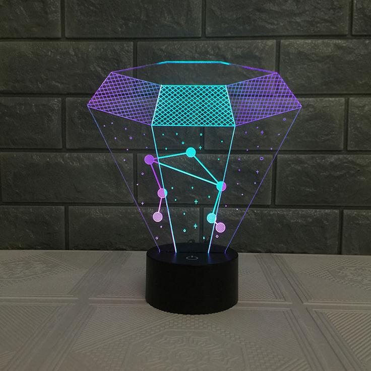 The New Invention 3D Constellation LED Night Light Mixed Color Acrylic 3D Lamp 7 Color Change USB Baby Sleeping Night Light