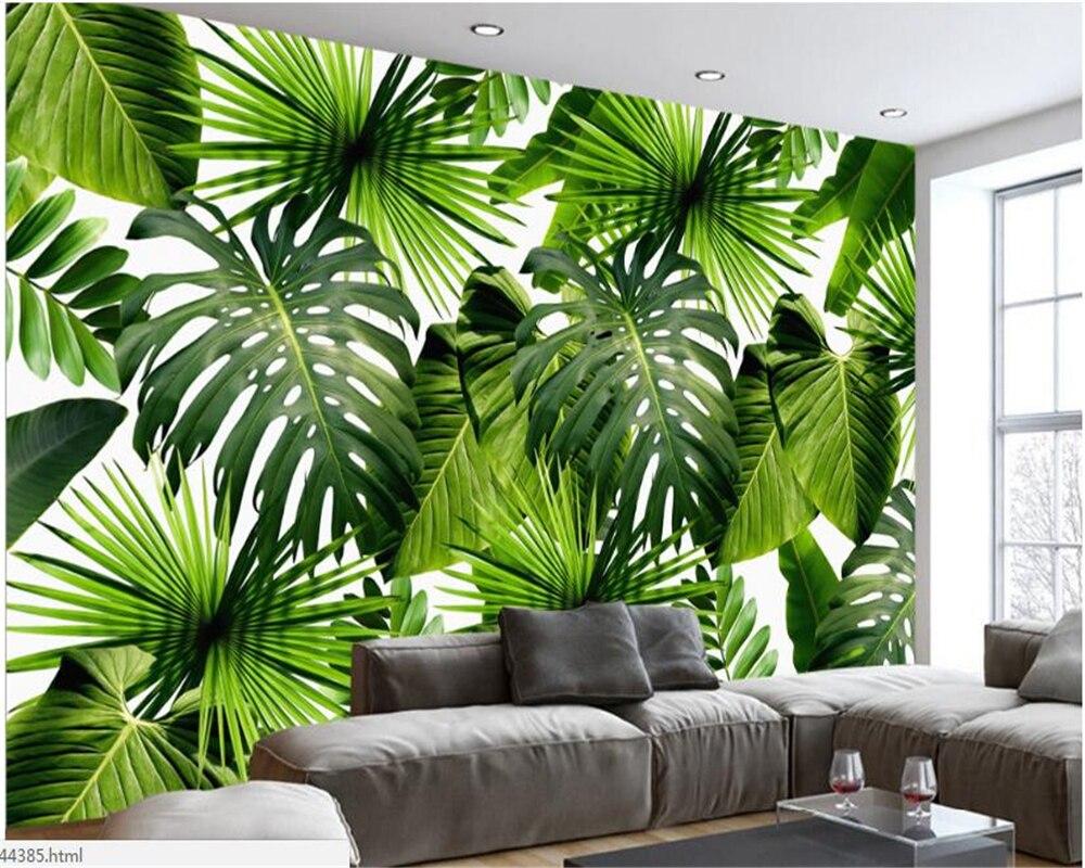 Beibehang Modern Sederhana HD Wallpaper Segar Hutan Hujan Tanaman Daun Pisang Pastoral Mural Dinding Latar Belakang