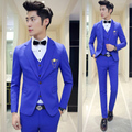 Mens Suits With Pants Boys Graduation Prom 3 pieces (Jacket+Vest+Pant) Wedding Suit for Men Slim Fit Terno Masculino Royal Blue