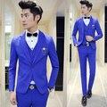 Mens Ternos Com Calças Meninos Graduação Prom 3 peças (jaqueta + Colete + Calça) Terno do casamento para Os Homens Slim Fit Terno Masculino Azul Royal