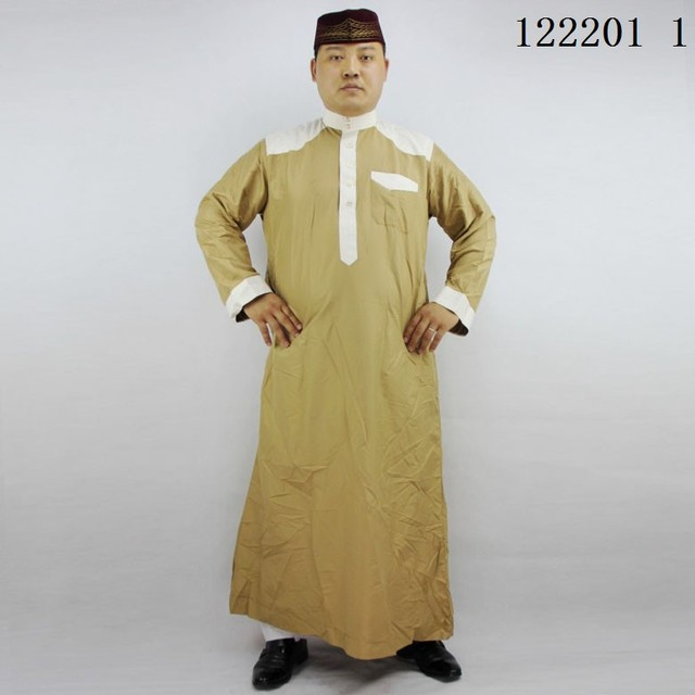 6 Colors arabic clothing for men Stand collors Thobe color Stitching kaftan men cotton